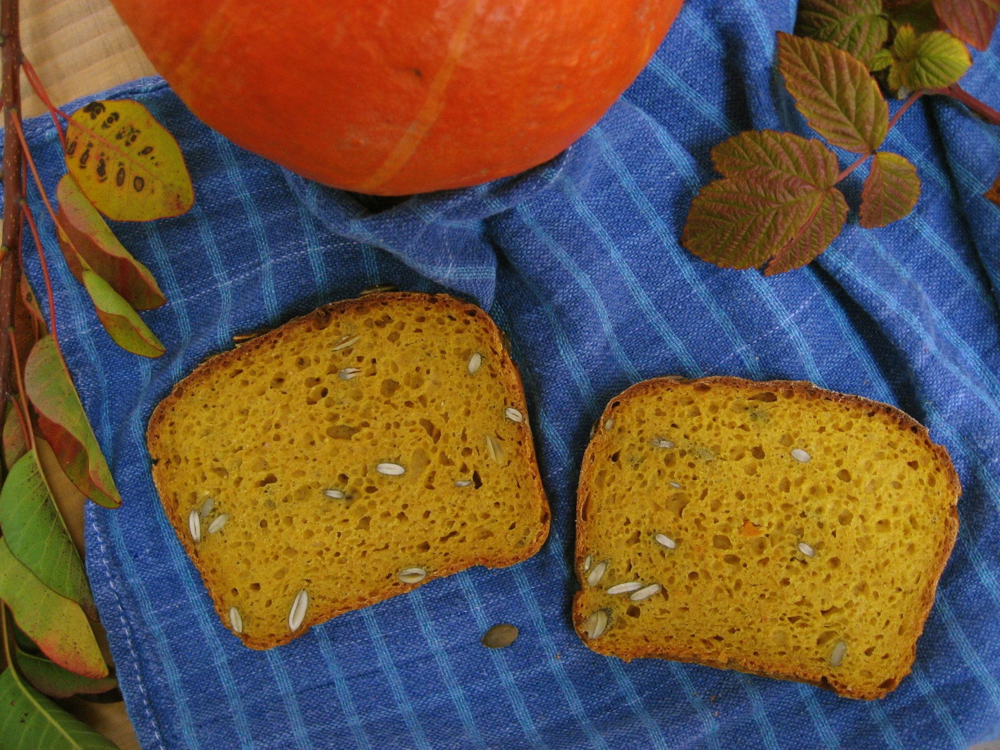 Kromki chleba żytniego z dynią i jesienne liście